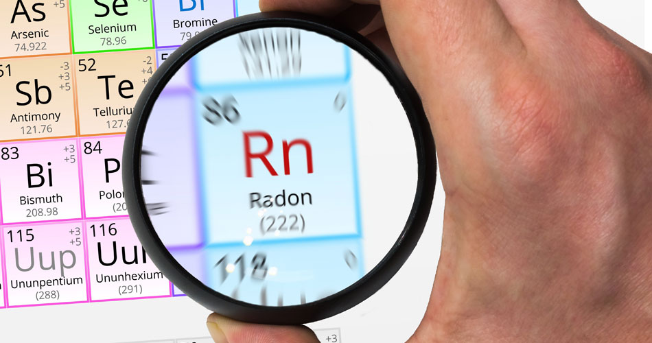 Magnifying glass showing Radon in the Periodic Table